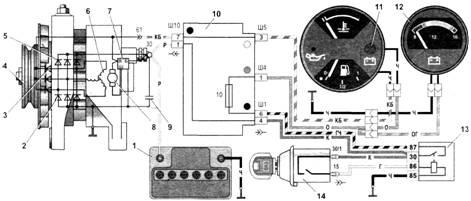Транспорт Технічне обслуговування генератора Г автомобілів  Керуюча напруга подається на вихід Б регулятора безпосередньо від клеми 30 генератора Вихід Ш регулятора маркірування не має