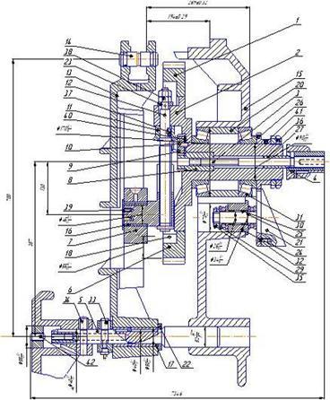 Промышленность производство Модернизация поперечно строгального  К корпусу 14 жестко крепится зубчатый венец который и передает вращательное движение В направляющих корпуса 14 находится палец гайка 9 на котором надет
