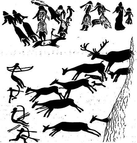 История Семь чудес света древний мир средние века и наше время  Сцена охоты Наскальный рисунок Мезолит