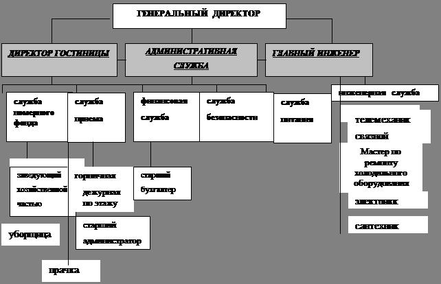 Экономика Организация обслуживания гостей в гостинице Пасифик  1 2 Схема организационной структуры гостиницы