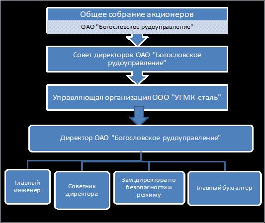 Менеджмент Управленческий и финансовый анализ деятельности  Рисунок 1 Организационная структура управления ОАО Богословское рудоуправление