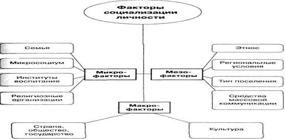 Социология Личность как субъект и продукт социальных отношений  Рисунок 4 Факторы социализации личности
