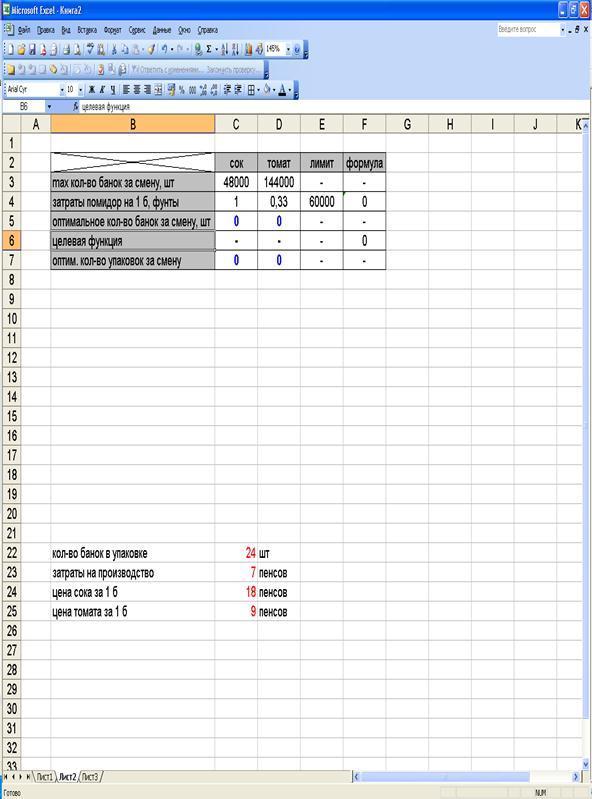 Экономико математическое моделирование Моделирование предприятия  Рисунок 1 Вид таблицы в excel для решения первого пункта задачи